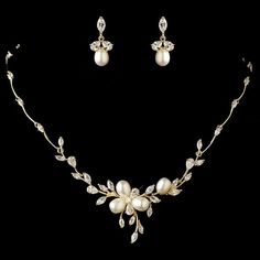 Frosted Swarovski Crystal Floral Bridal Jewelry Set Bridal jewelry
