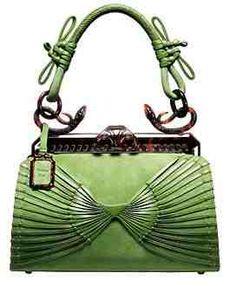 Vintage DIOR green suede 1947 Samourai bag