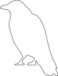 Crow pattern. Use the printable outline for crafts