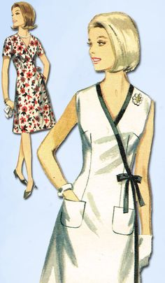 1960s Vintage Butterick Sewing Pattern 3893 Uncut Misses Wrap Dress Size 18 38B #Butterick #DressPattern