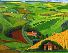 The Road across the Wolds, 1997 by David Hockney. This bright, vivid print depicts the rolling countryside of Hockney's beloved Yorkshire as it part of a larger series of painting he did of the area. David Hockney Landscapes, David Hockney Art, David Hockney Paintings, David Hockney Ipad, Ipad Art, Ipad Kunst, Landscape Art, Landscape Paintings, Art Paintings