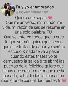 Ami esposa Amor Quotes, Gemini Quotes, Qoutes About Love, Love Quotes For Him, Cute Text Messages, Tumblr Love, Relationship Texts, Love Phrases, Husband Quotes