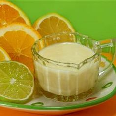 Citrus Dressing  Allrecipes.com One comment suggested that If you refuse to use eggs or serve raw eggs- omit the egg and egg whites, cut the canola oil in half. use 1/2 cup of mayonaise instead