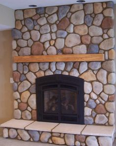 Napoleon GD 70 Stucco Fireplace, Brick Fireplace Makeover, Home Fireplace, Fireplace Design, Fireplace Inserts, River Rock Fireplaces, Mobile Home Makeovers, Moose Decor, Cheap Home Decor