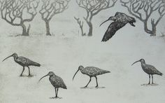 """The Winter Return"" by Hester Cox (collagraph)"
