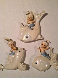Vintage 50s 60s Ceramic Lot of 3 Lefton Mermaid Riding Fish Wall Plaque Lustre | eBay