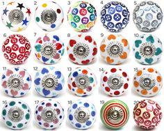 Polka Dot & knop porselein deur knoppen diverse door DesignInFocus