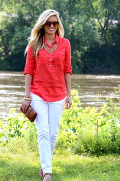 linen tunic over white jeans