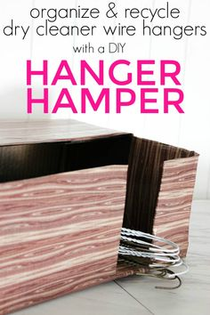 Organize your closet and all of those pesky wire hangers from the dry cleaners with this Hanger Hamper. Also a great way to recycle wire hangers. Small Closet Organization, Organization Hacks, Organizing Ideas, Laundry Hamper, Laundry Room, Laundry Tips, Blogger Home, Ways To Recycle, Diy Cardboard