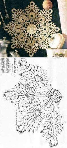 51 Ideas knitting charts snowflake free pattern for 2019 Crochet Doily Diagram, Crochet Flower Patterns, Crochet Mandala, Crochet Chart, Crochet Squares, Thread Crochet, Crochet Designs, Crochet Doilies, Crochet Flowers