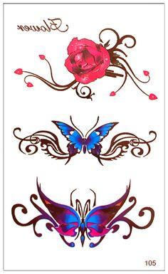 168c73add7b5b Waterproof Temporary Tattoo Sticker on body art butterfllys Water Transfer flash  tattoo fake finger tattoos for