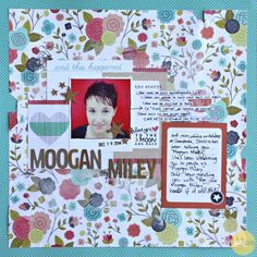 Moogan Miley, by Sharmaine Kruijver using the Pajama Time collection from www.cocoadaisy.com  #cocoadaisy #scrapbooking #kitclub #layout #mixedmedia