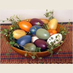Piper Classics - Painted Eggs - Antiqued Country Colors in Primitive Wooden Bowl