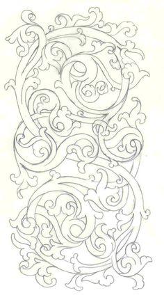 Islamic Art Pattern, Pattern Art, Pattern Design, Wood Carving Designs, Wood Carving Patterns, Leather Tooling Patterns, Leather Pattern, Stencil Art, Stencil Designs