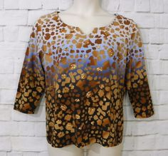 Womens RUBY RD Blue Black Brown Gold Sequin V-Neck ¾ Sleeve Knit Top Size Large #RubyRd #KnitTop #Casual