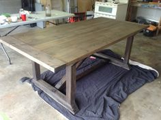 Our new DIY dinning table , My husband and I just finished building our new dinning table..and for $100 its a keeper :) , Staining done and needs to be waxed , Dining Rooms Design