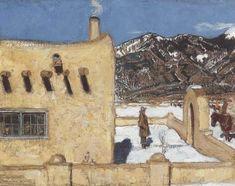 Akseli Gallen-Kallela aprilie 1865 - 7 martie - The Artist's Home At Taos Chur, Mexico Art, Nordic Art, Land Of Enchantment, Canadian Art, Impressionist Art, First Nations, Figurative Art, Lovers Art