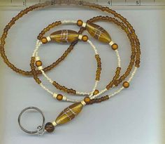 Ice Tea Lanyard Beaded ID Necklaces Holder Work by chrissystuff   just $5.99