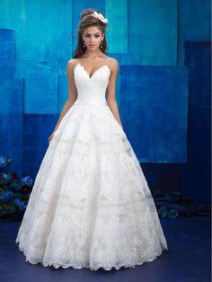 Elegant Ball Gown Spaghetti Straps V-Neck Lace Bridal Wedding Dresses 1005001