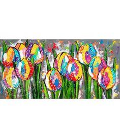 """Vrolijk Schilderij 160 x 80 cm schilderij """"Tulpen op grijs"""""""