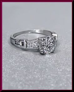 Antique Vintage Platinum Art Deco 1930's Old European Cut Diamond Engagement Wedding Ring by AntiqueJewelryNyc on Etsy