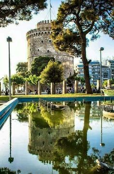 White Tower of Thessaloniki, Macedonia, Greece Macedonia Travel Destinations Places To Travel, Places To See, Travel Destinations, Places Around The World, Around The Worlds, Macedonia Greece, Greece Thessaloniki, Greece Sea, Greece Travel