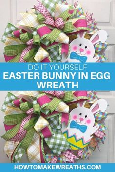 Learn how to make a Bunny in an Easter Egg Wreath. This wreath is an adorable, fun project that will look so festive for the season. Easter Wreaths, Christmas Wreaths, Easter Bunny, Easter Eggs, Easter Videos, Poinsettia Wreath, Wreath Making, Wreath Tutorial, Foam Crafts