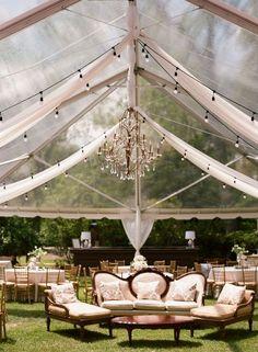 elegant tented wedding reception decor
