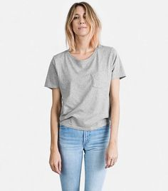 Everlane Cotton Heather Box Cut T-Shirt in Gray