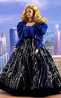 Blue Rhapsody Porcelain Barbie - Limited Edition - RARE by Mattel. $189.99. First in the series of porcelain Barbie dolls, Blue Rhapsody Barbie is made of wears a floor length royal blue gown with silvery accents. She wears undergarments, is individually numbered, and comes with a Certificate of Authenticity and stand.