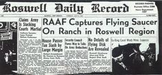 """Será que estamos sozinhos? Exatamente há 66 anos o Roswell Daily Record chocou o público americano com a manchete: """"RAAF captura disco voador num rancho da região de Roswell""""."""