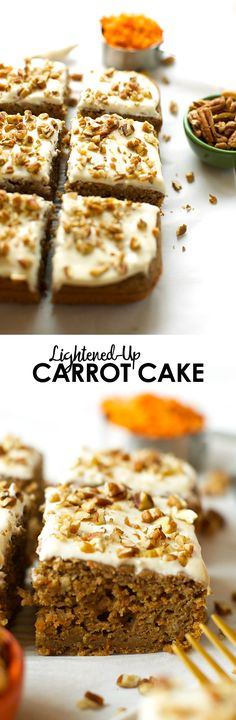 Love carrot cake? Yah, me too. Get you fix by making this Lightened-Up Carrot Cake made with 100% whole grains, maple syrup, and coconut oil! Oh, and freshly grated carrots.