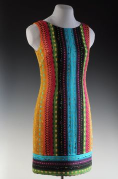 Colorful handwoven dress by Daryl Lancaster. Want to learn how to create garments from #handwoven cloth?