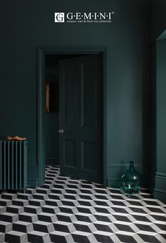 Ad // Do you have floor tiles in your home? I get so tempted when I see geometric tiles like these from - aren't they fabulous? I couldn't resist. Dark Green Walls, Dark Walls, Dark Painted Walls, Dark Green Living Room, Dark Blue Bedroom Walls, Dark Bedrooms, Dark Living Rooms, Cozy Living, Small Living