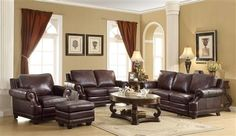 Crawford Traditional Brown Leather Living Room Set