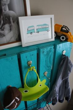 Super cute hook system in this kid room!