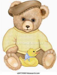 Teddy bear with toy duckling