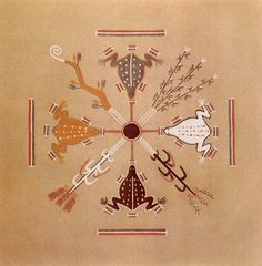 Frogs and the Four Sacred Plants - Navajo Sandpainting