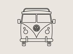 line drawings, vw bus, good offwhite color palette = win