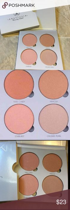 New ABH Glow Kit New ABH Anastasia Beverly Hills Glow Kit  Limited quantities - price is firm   Brand New Includes all colors shown in the pics above!  Everything is shipped within 24 hours of purchase!   A collection of four metallic powder highlighters for intense luminosity. Layer shades of Anastasia Beverly Hills Glow Kit, or wear them separately, on the face and body for a radiant luminous glow Accessories