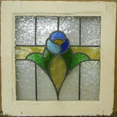"""OLD ENGLISH LEADED STAINED GLASS WINDOW Pretty Floral Band Design 21"""" x 21"""""""