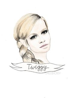 Twiggy watercolour portrait PRINT Lesley Hornby by ohgoshCindy, £9.00