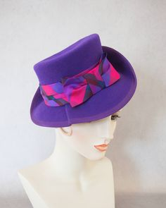 ce9f47ead8c3 1940s Style Purple Tilt Hat. Vintage inspired percher fedora. By Silverhill  Creative Millinery.