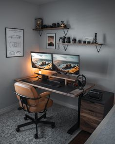 My new office setup! Huge thanks to my sister, Audrey and her husband Joe for helping put together the new office setup! I decided… Home Studio Setup, Home Office Setup, Home Office Space, Home Office Design, Best Home Office Desk, Loft Design, Small Office, Minimalist Desk, Bedroom Setup