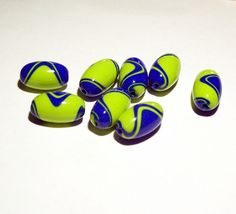 Polymer Clay Beads - Lime Green and Royal Blue Oval Handmade Beads by BarbiesBest on Etsy