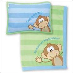 Fleece Monkey Pillow & Blanket Set from Stephen Joseph