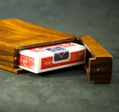 Wood Playing Card Case Walnut and Rosewood by AcousticDesign, $75.00
