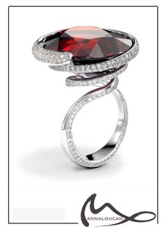 Natural spessartite garnet and platinum cocktail ring with pave set diamonds Platinum Jewelry, Garnet Jewelry, Garnet Gemstone, Multi Coloured Rings, Bespoke Jewellery, Valentine Heart, Cocktail Rings, Jewelery, Handmade Jewelry