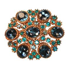 """This Sphinx Signed Blue and Teal Rhinestone Domed Brooch from Splendors of the Past on Ruby Lane will make others say """"OOOhhh."""""""