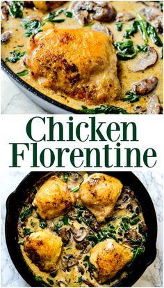 Keto Chicken Florentine in a Skillet Recipe | Chicken in a Skillet, Keto Recipes, Easy Chicken Dinner, Skillet Recipe, Chicken Florentine Recipe | #chicken #keto #ketorecipe #ketochicken #skillet #chickenflorentine